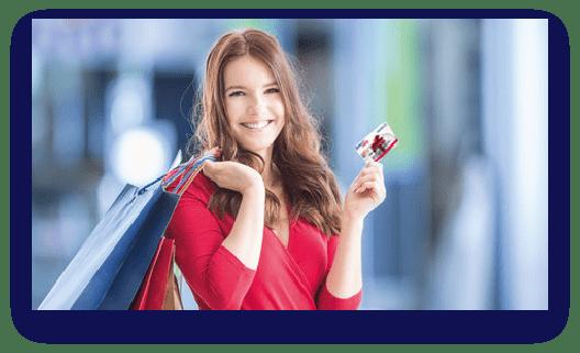 Frau hält benefit Pass