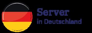 kreisförmige Deutschland-Flagge als Symbol für den Server in Deutschland