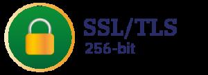 Grünes Kreissymbol mit Schloss für SSL/TLS 256-bit