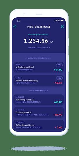 vyble® MyCard: App Mockup Slide 1