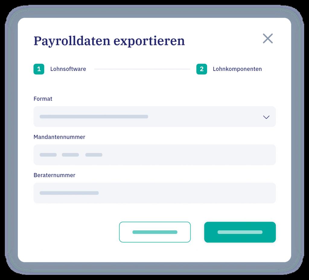 vyble® Mockup: Payrolldaten exportieren