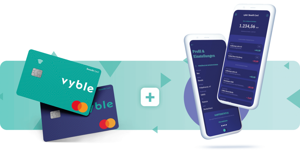 vyble® Benefit Cards und Smartphones Mockup