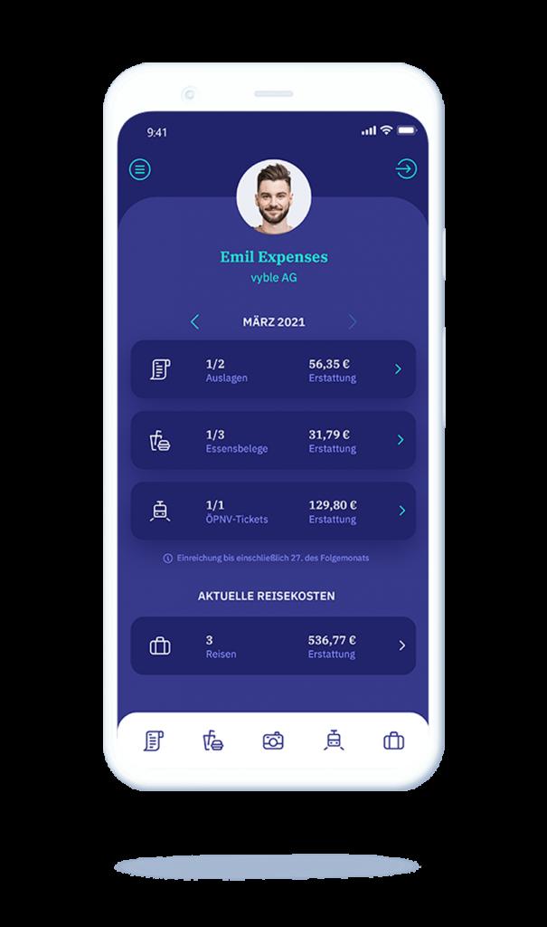 vyble® MyExpenses App: Auslagen Übersicht Mockup