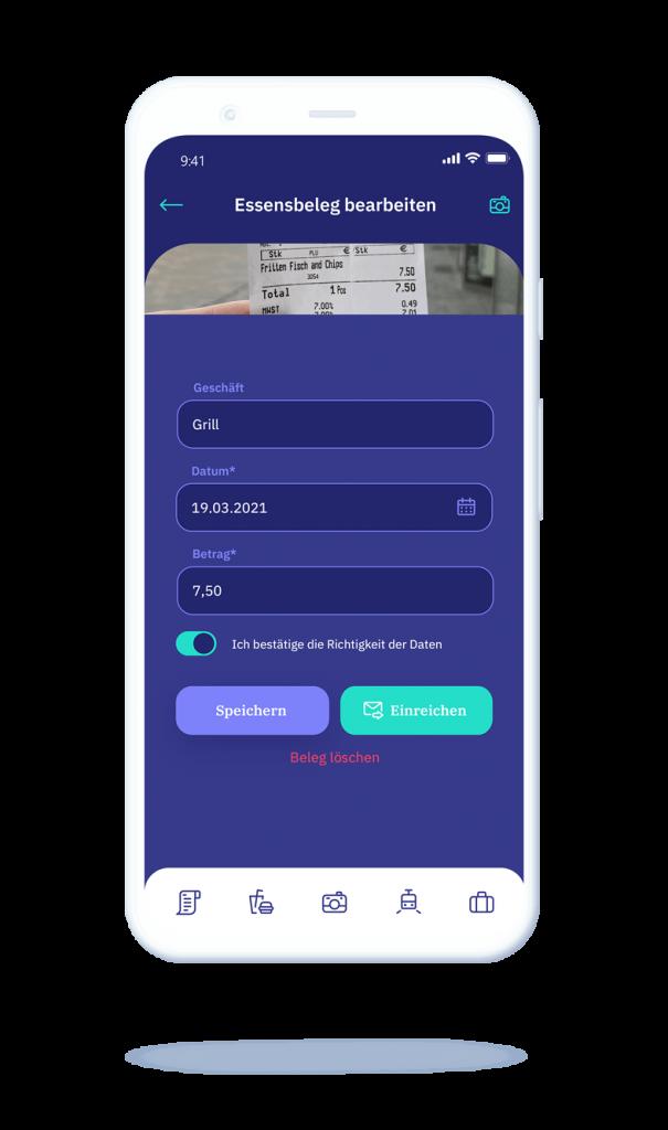 vyble® MyExpenses App: Beleg bearbeiten Mockup