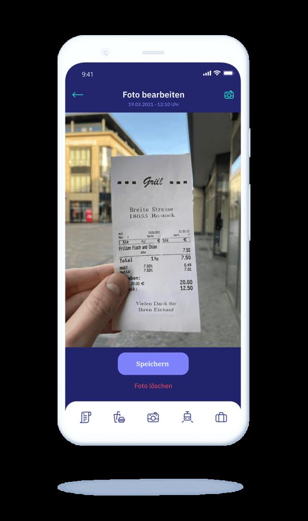 vyble® MyExpenses App: Beleg einreichen Mockup