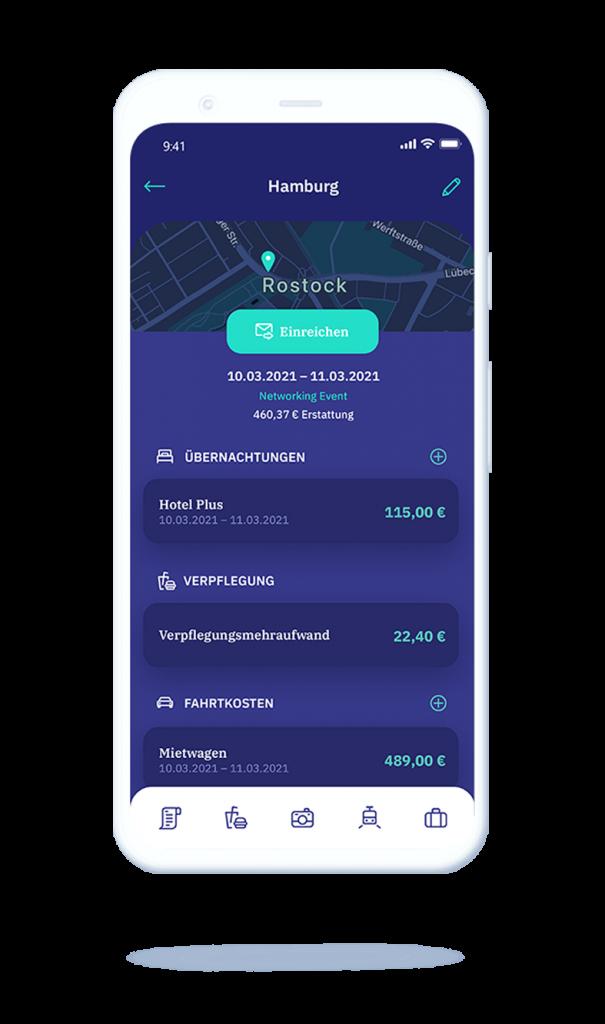 vyble® MyExpenses App: Reise einreichen Mockup