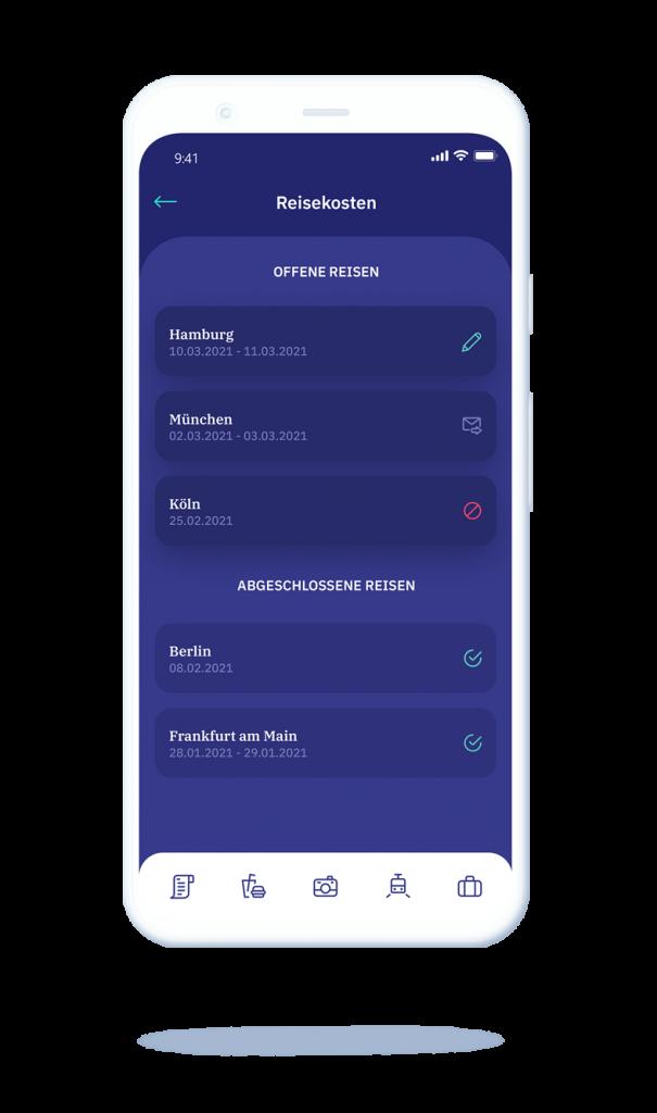 vyble® MyExpenses App: Reisekosten Übersicht Mockup