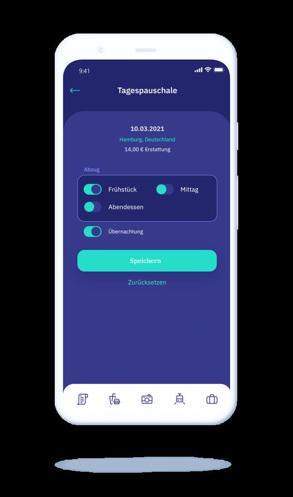 vyble® MyExpenses App: AuslagenTagespauschale Mockup