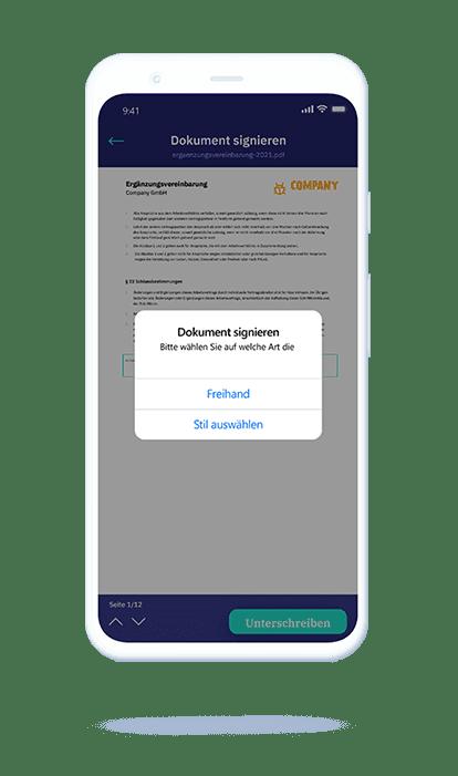 vyble® MyProFile App: Dokument unterschreiben Mockup