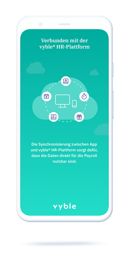 vyble® MyTime App: Daten synchronisieren Payroll Mockup