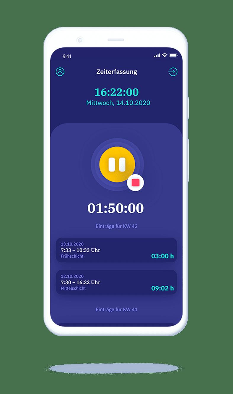 vyble® MyTime App: Smartphone Tracking pausieren Mockup