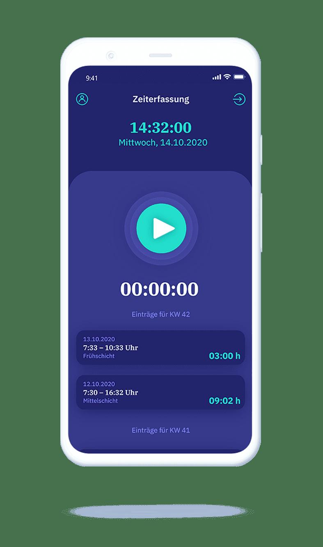 vyble® MyTime App: Smartphone Tracking starten Mockup