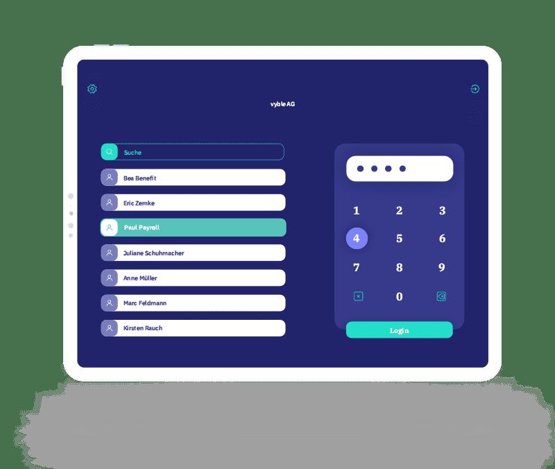 vyble® MyTime App: Authentifizierung Mockup