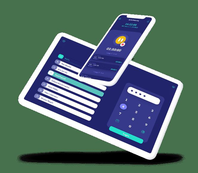 vyble® MyTime App: Tablet und Smartphone Mockup